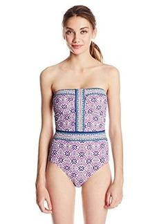 Nanette Lepore Women's Mallorca Mosaic Seductress Bandeau One Piece Swimsuit