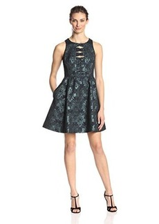 Nanette Lepore Women's Masquerade Metallic Bow Back Fit and Flare Dress