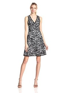 Nanette Lepore Women's Mi Amor Embroidered Lace Fit and Flare Sheath, Black/White, 14