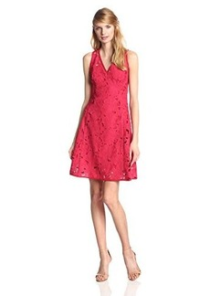 Nanette Lepore Women's Mi Amor Embroidered Lace Fit and Flare Sheath, Red, 6