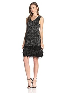 Nanette Lepore Women's Music Hall Metallic Knit Feather Hem Dress, Black/Multi, X-Small