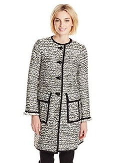 Nanette Lepore Women's Night Sky Coat, Black/Ivory, 12