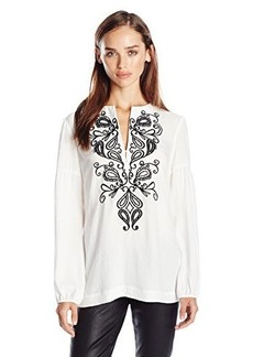 Nanette Lepore Women's Nighttime Long Sleeve Top, Ivory/Black, Small