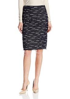 Nanette Lepore Women's Nomad Embroidered Denim Pencil Skirt, Indigo, 8