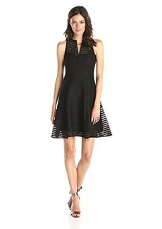 Nanette Lepore Women's Now You See Me Perforated Stripe Fit and Flare Dress, Black, 12
