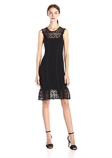 Nanette Lepore Women's Olivia Sleeveless Lace Dress, Black/Black, Small