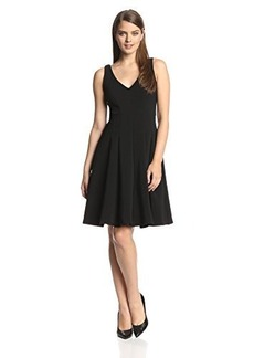 Nanette Lepore Women's Ottoman Plunge Fit and Flare Dress, Black, 2