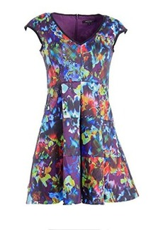 Nanette Lepore Women's Painterly Dress Purple Multi Dress 8