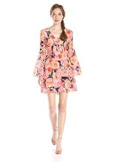 Nanette Lepore Women's Racy Rose Silk Lace Up Dress, Rose Multu, 4
