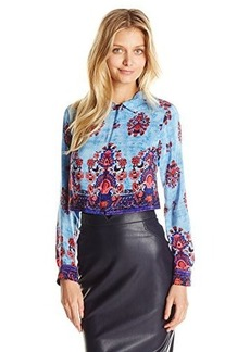 Nanette Lepore Women's Roam Free Silk Border Print Convertible Shirt