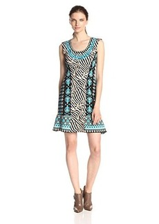 Nanette Lepore Women's Safari Zebra Print Mix Sweater Dress, Lagoon/Multi, Small