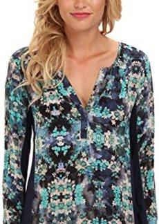 Nanette Lepore Women's Secret Getaway Silk and Knit Long Sleeve Blouse, Midnight Multi, X-Small