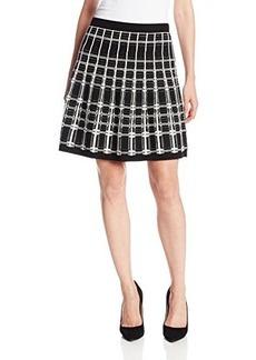 Nanette Lepore Women's Series Knit Plaid Flare Skirt