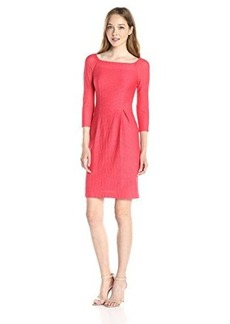 Nanette Lepore Women's Sleek and Chic 3/4 Sleeve Boat Neck Dress, Coral, 10