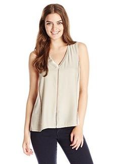 Nanette Lepore Women's Sleeveless Silk-and-Knit Top,Sand,Medium