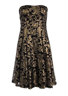 Nanette Lepore Women's Spotlight Metallic Brocade Strapless Fit and Flare Dress, Gold/Black, 0