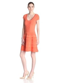 Nanette Lepore Women's Strollin' Capsleeve Knit Fit and Flare Dress, Coral, X-Small