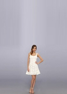 Nanette Lepore Women's Summer Garden Eyelet Sleeveless Tulip Hem Dress, Ivory, 12