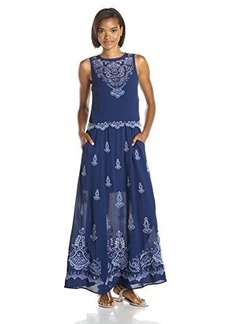 Nanette Lepore Women's Summer Solstice Embroidery Detail Maxi Dress, Blue Sky, 10