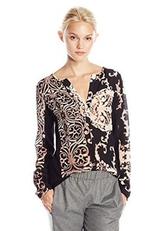 Nanette Lepore Women's Sweater Woven Top, Black/Multi, Medium