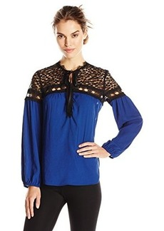 Nanette Lepore Women's Tainted Love Long Sleeve Top, Cobalt, X-Small
