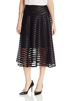 Nanette Lepore Women's Transperancy Striped Flare Skirt, Black, 8