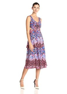 Nanette Lepore Women's Unscripted Silk Print Cut-Out Sides Midi Dress