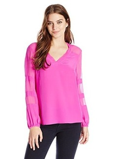 Nanette Lepore Women's Untamed Silk Bell Sleeve Blouse, Magenta, Small