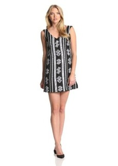 Nanette Lepore Women's Up All Night Embroidered Linen Sleeveless Dress, Black, 0