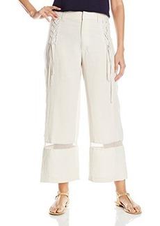 Nanette Lepore Women's Venezuela Linen Cropped Wide Leg Pant, Khaki, 8