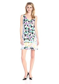 Nanette Lepore Women's Wildflower Silk Wilder Flower Shift Dress, Iris Multi, X-Small