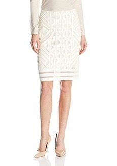 Nanette Lepore Women's Wood Carving Lace Skirt