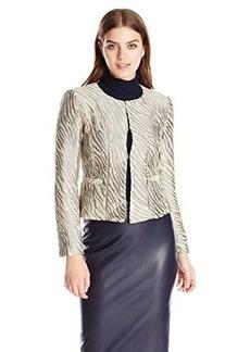 Nanette Lepore Women's Zebra Brocade Jacket, Sand/Multi, 12