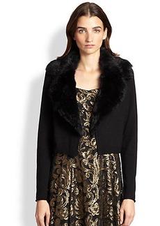 Nanette Lepore Wool Fur-Collar Cardigan