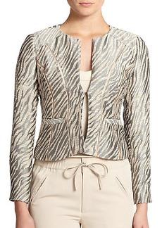 Nanette Lepore Zebra-Print Brocade Jacket