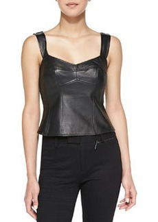 Open & Shut Leather/Ponte Corset Top   Open & Shut Leather/Ponte Corset Top