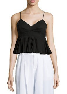Pleated Peplum Tank Top, Black   Pleated Peplum Tank Top, Black