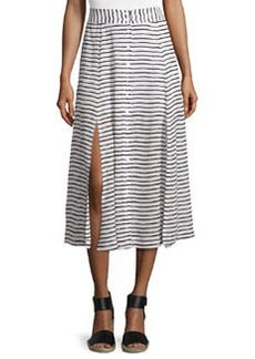 Revoir Button Striped Midi Skirt, Black/White   Revoir Button Striped Midi Skirt, Black/White