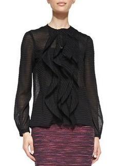 Ruffle-Front Sheer Patterned Blouse   Ruffle-Front Sheer Patterned Blouse