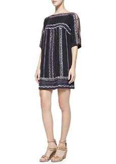 Run Wild Silk Boat-Neck Shift Dress   Run Wild Silk Boat-Neck Shift Dress