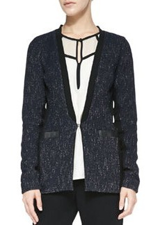 Scandal Leather-Trim Tweed Jacket   Scandal Leather-Trim Tweed Jacket