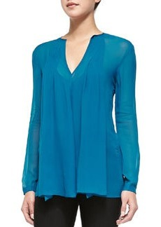 Secret Mission Silk Top, Cyan   Secret Mission Silk Top, Cyan