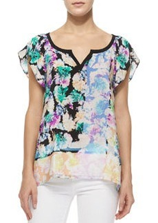 Short-Sleeve Floral-Print Silk Top   Short-Sleeve Floral-Print Silk Top