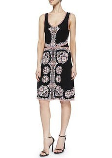 Sleeveless Printed Fit & Flare Dress   Sleeveless Printed Fit & Flare Dress