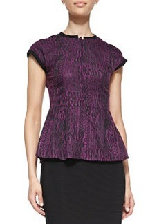 Solid-Trim Flared Jacquard Top   Solid-Trim Flared Jacquard Top