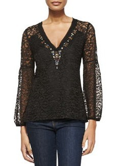 Starstruck Bead-Trim Lace Blouse   Starstruck Bead-Trim Lace Blouse