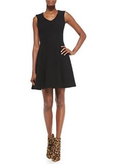 Stretch Ottoman Knit Fit-and-Flare Dress, Black   Stretch Ottoman Knit Fit-and-Flare Dress, Black