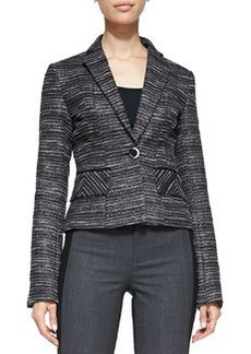 Striped Tweed Fitted Blazer   Striped Tweed Fitted Blazer