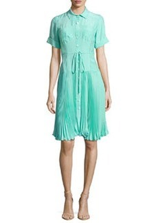 Sunburst Tie-Waist Pleated Shirtdress, Aqua   Sunburst Tie-Waist Pleated Shirtdress, Aqua