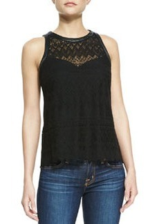 Take A Trip Leather-Trim Eyelet Tank Top   Take A Trip Leather-Trim Eyelet Tank Top